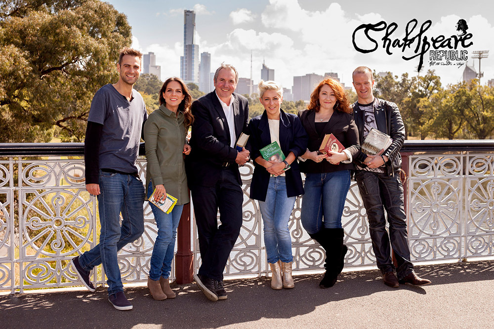 Cast of Shakespeare Republic (L-R): Ben Steel, Michala Banas, Alan Fletcher, Rowena Hutson, Sally McLean and Billy Smedley