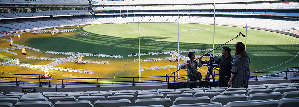 A Life Unexpected Crew, Tim McCormick (Sound), Shaun Herbertson (DOP) and Sally McLean (Director/Producer) set up at the MCG for filming in April