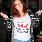 Sally McLean showing off the awesome official selection singlet from New Jersey Web Fest